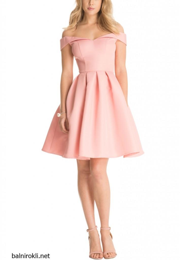 розова къса официална рокля