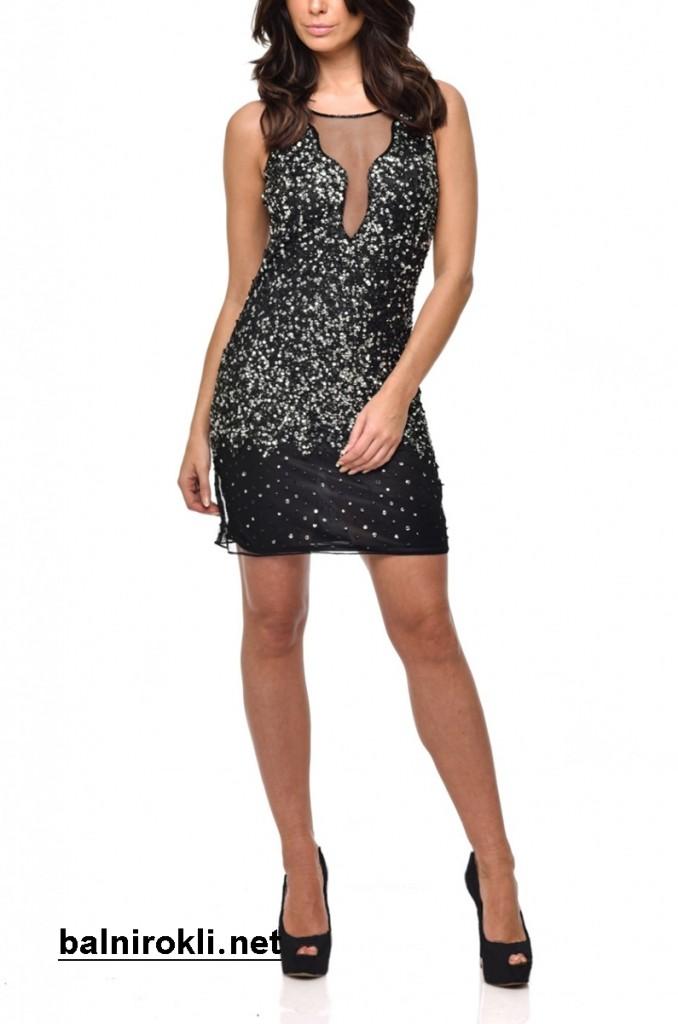 елегантна къса рокля блестящи пайети