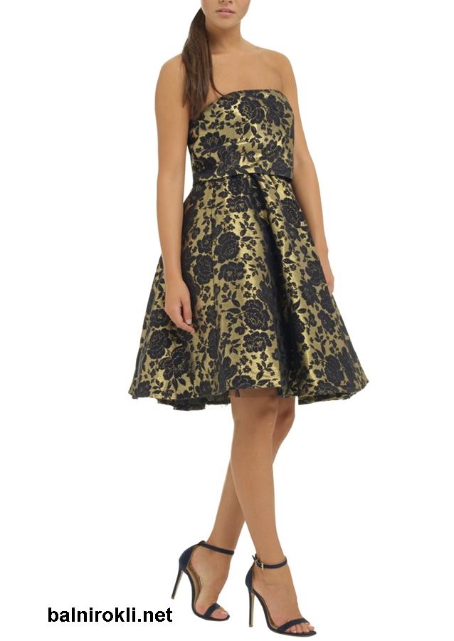 къса абитуриентска рокля черно и златисто