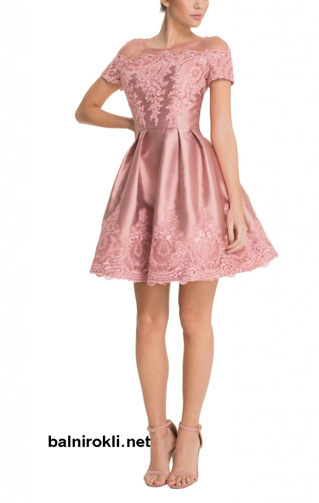 абитуриентска къса бална розова рокля