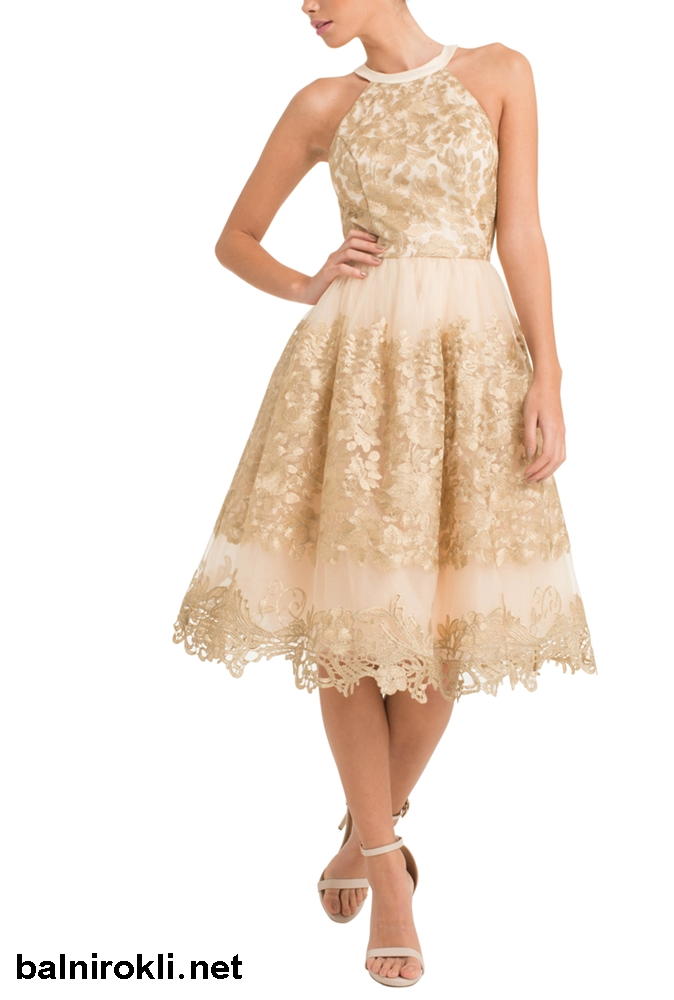 абитуриентска бална рокля дантела цвят златисто шампанско
