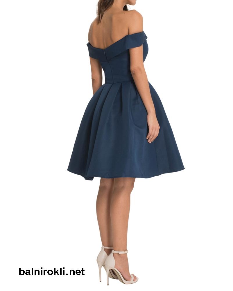 абитуриентска бална тъмносиня рокля