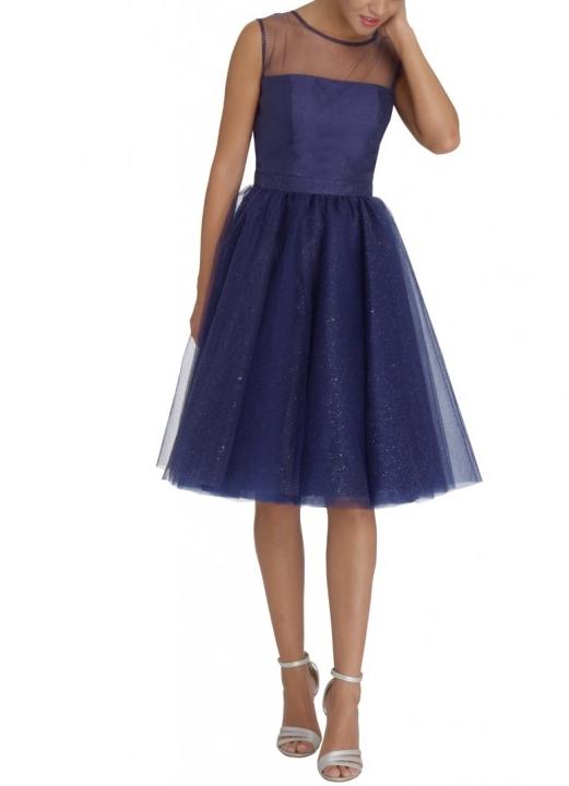 абитуриентска бална тъмносиня рокля тюл