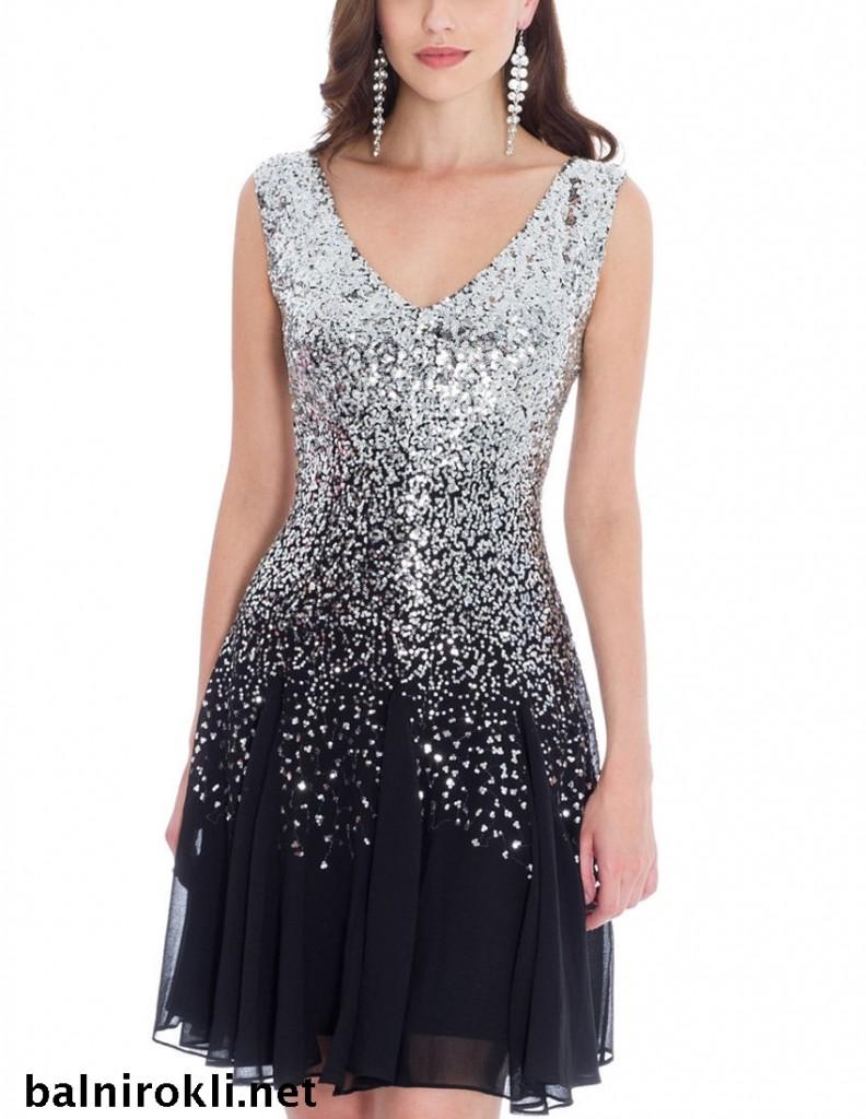 абитуриентска къса рокля сребристи пайети и черен шифон