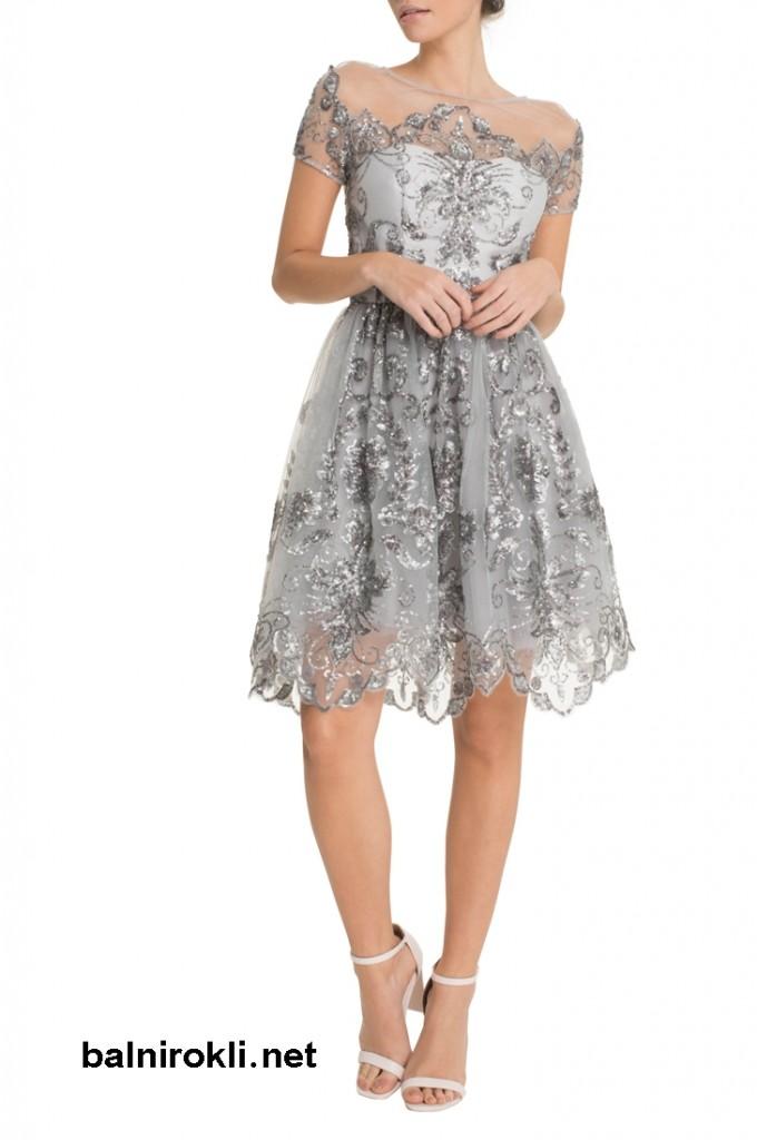 абитуриентска бална сребриста рокля