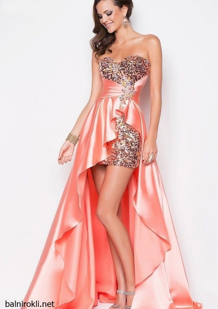елегантна асиметрична розова рокля