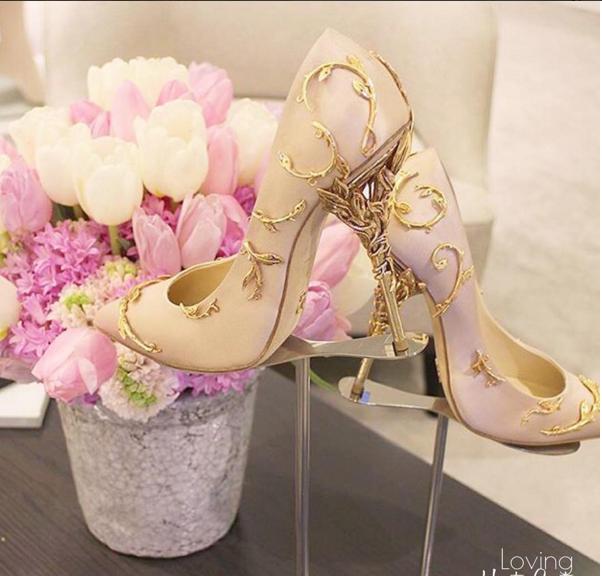 Бални Обувки Цвят Шампанско със Златисти Декорации