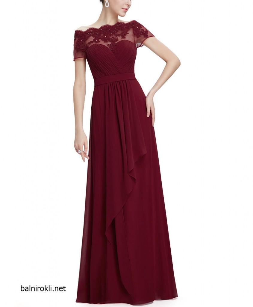 тъмночервена официална рокля с дантела