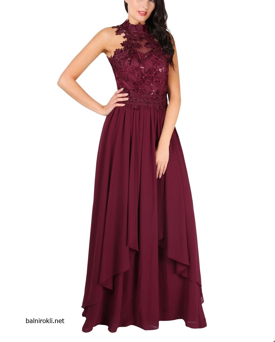 официална дълга рокля бордо