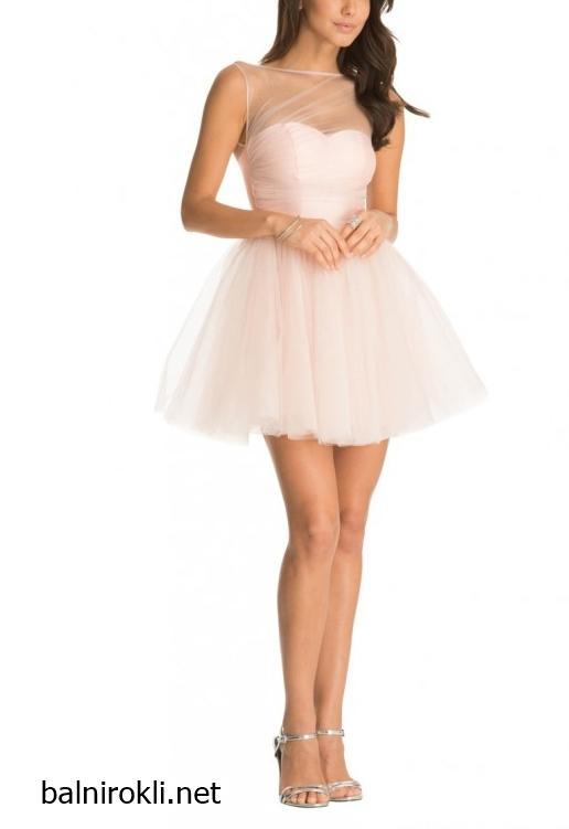 Къса Розова Абитуриентска рокля Тюл