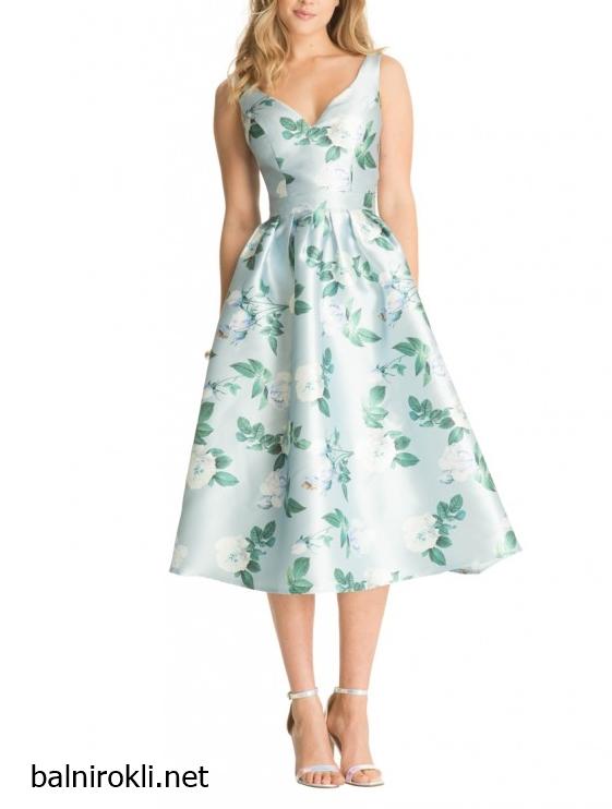 абитуриентска рокля сатен флорален принт
