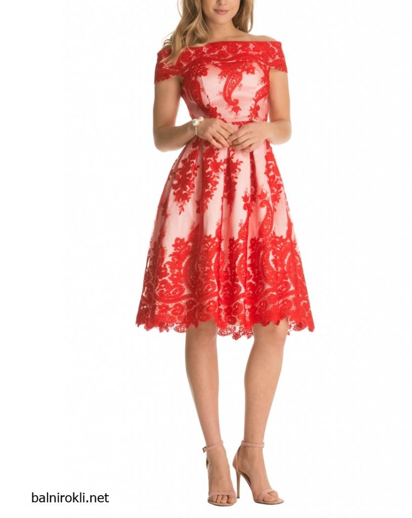 Червена Абитуриентска рокля Тюл и Бродерия