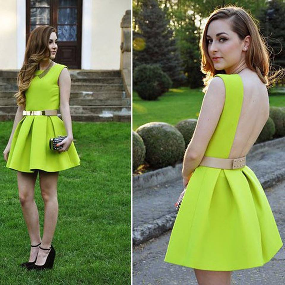 зелена парти рокля