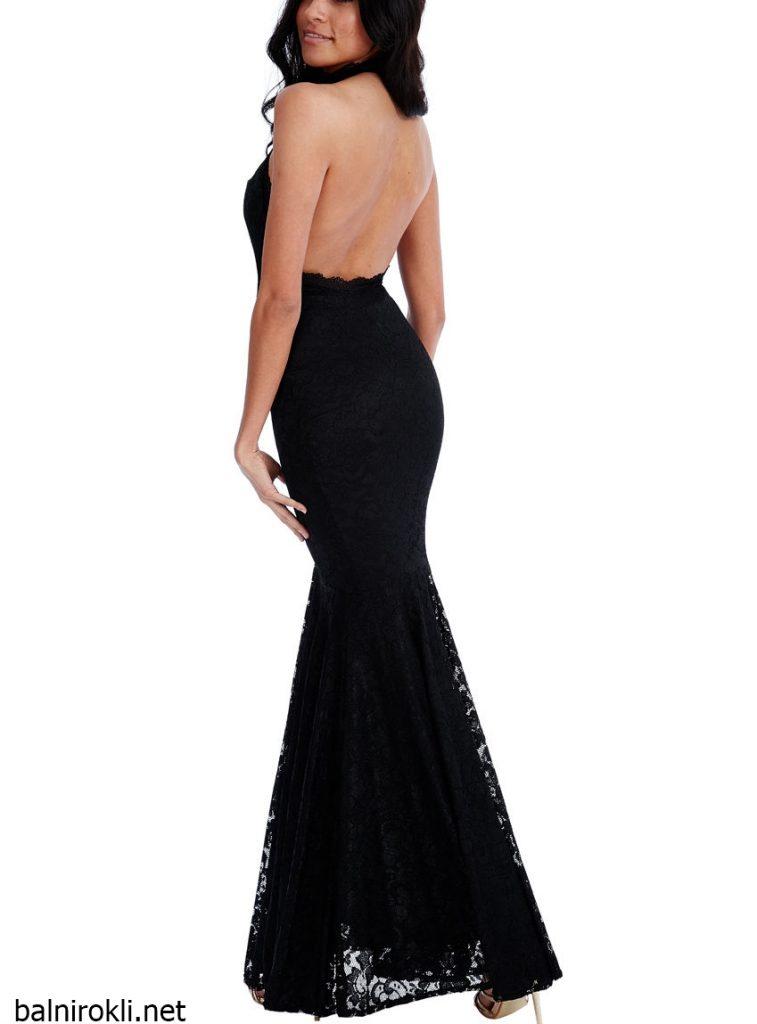 Черна дантелена дълга рокля с гол гръб
