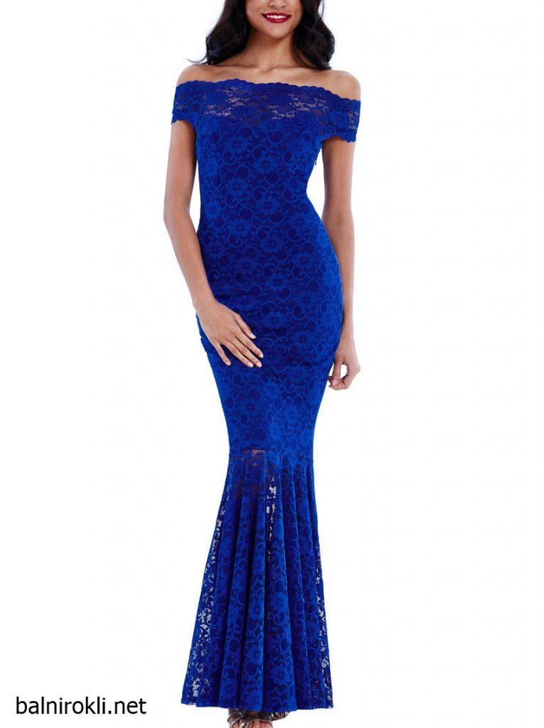 синя дълга дантелена рокля