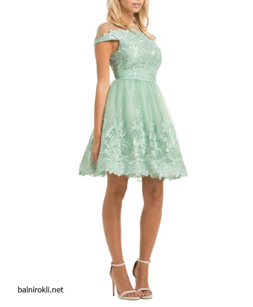 зелена къса официална рокля