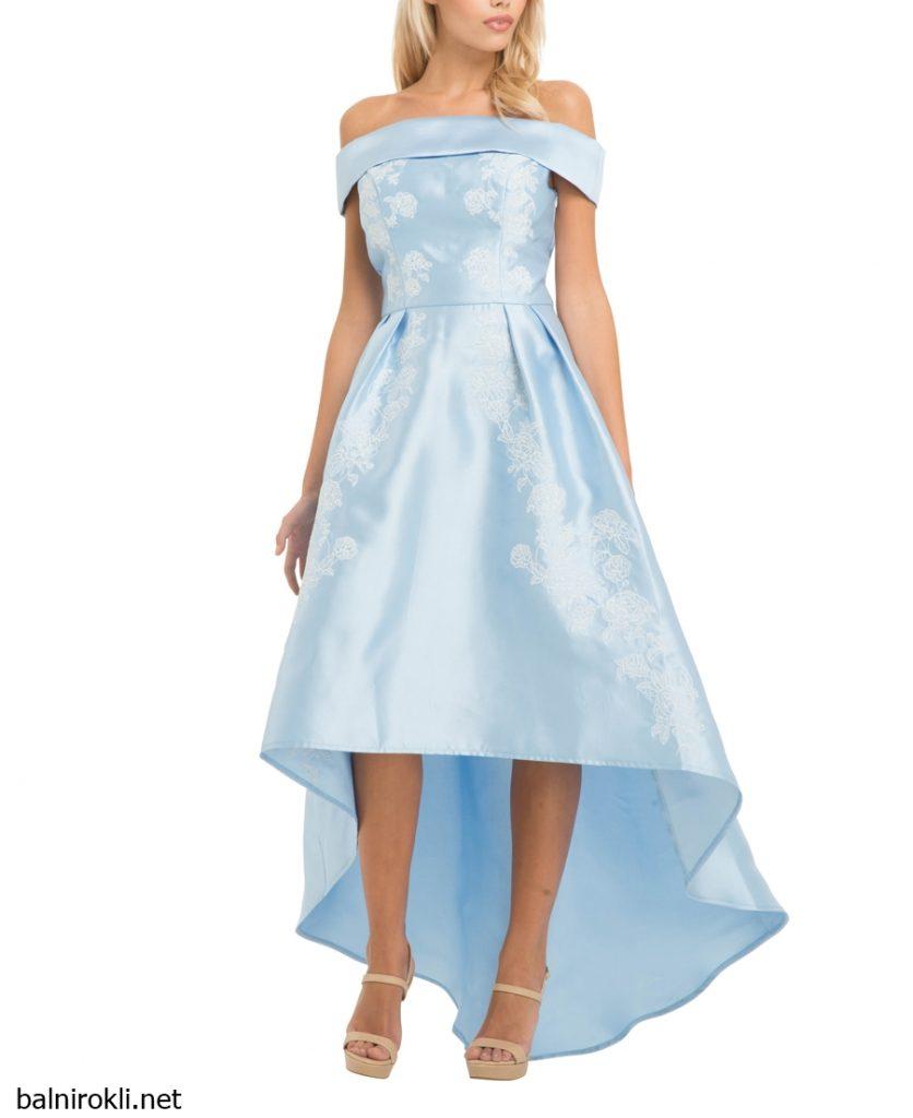 асиметрична светлосиня официална рокля