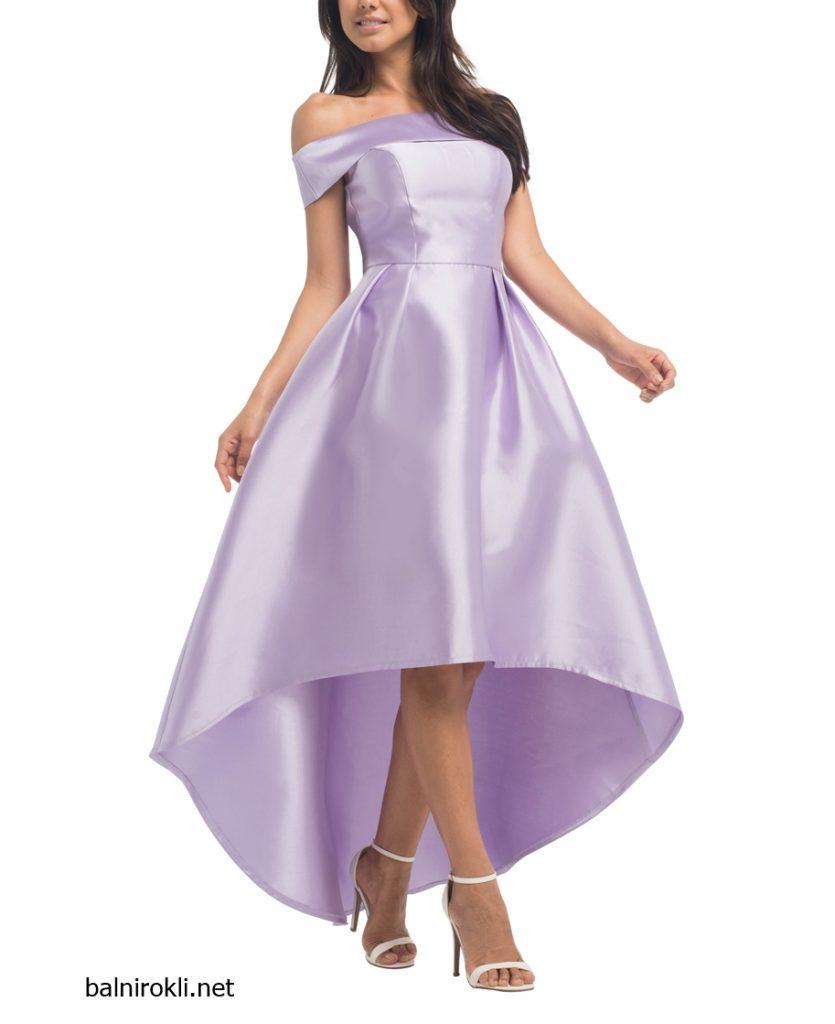 асиметрична лилава вечерна рокля сатен