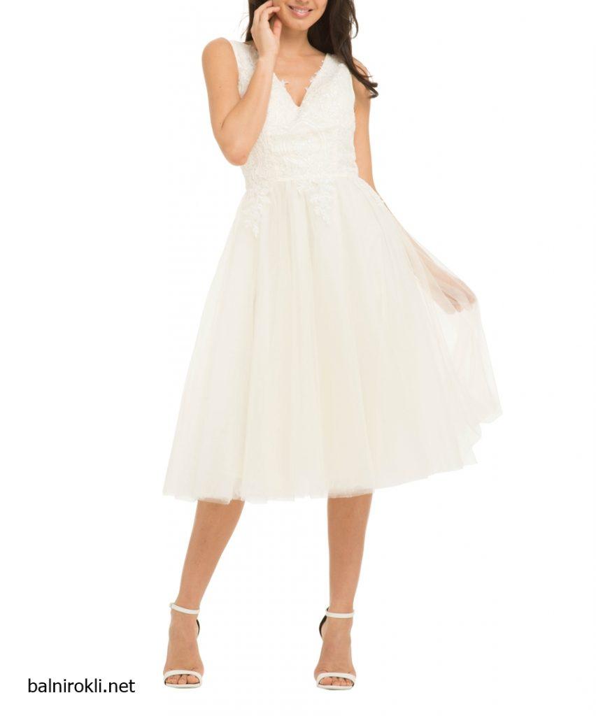бяла официална рокля