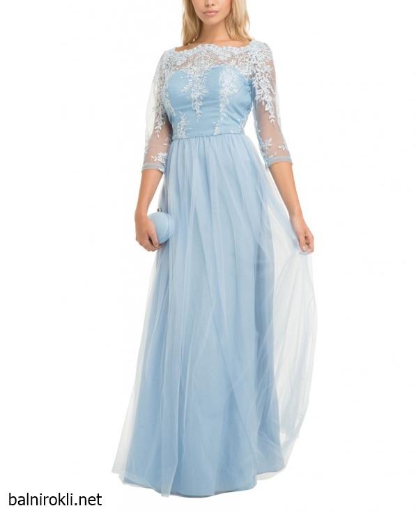 светлосиня дълга вечерна рокля