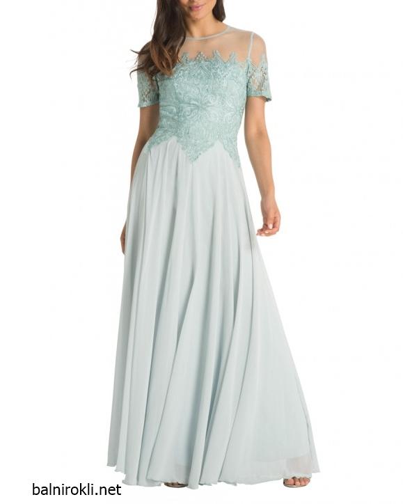 дълга светлосиня рокля бюстие
