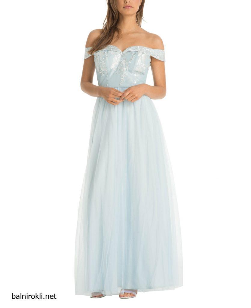 дълга свелосиня вечерна рокля бюстие бродерия