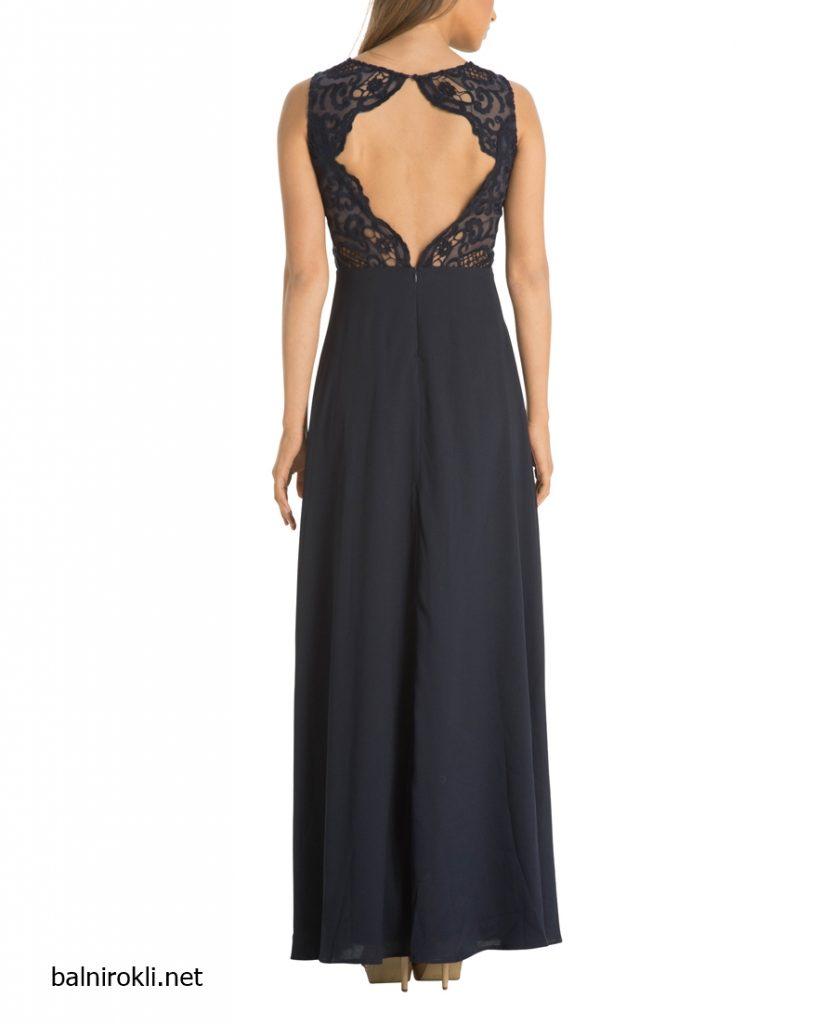 дълга тъмносиня вечерна рокля дантела гол гръб