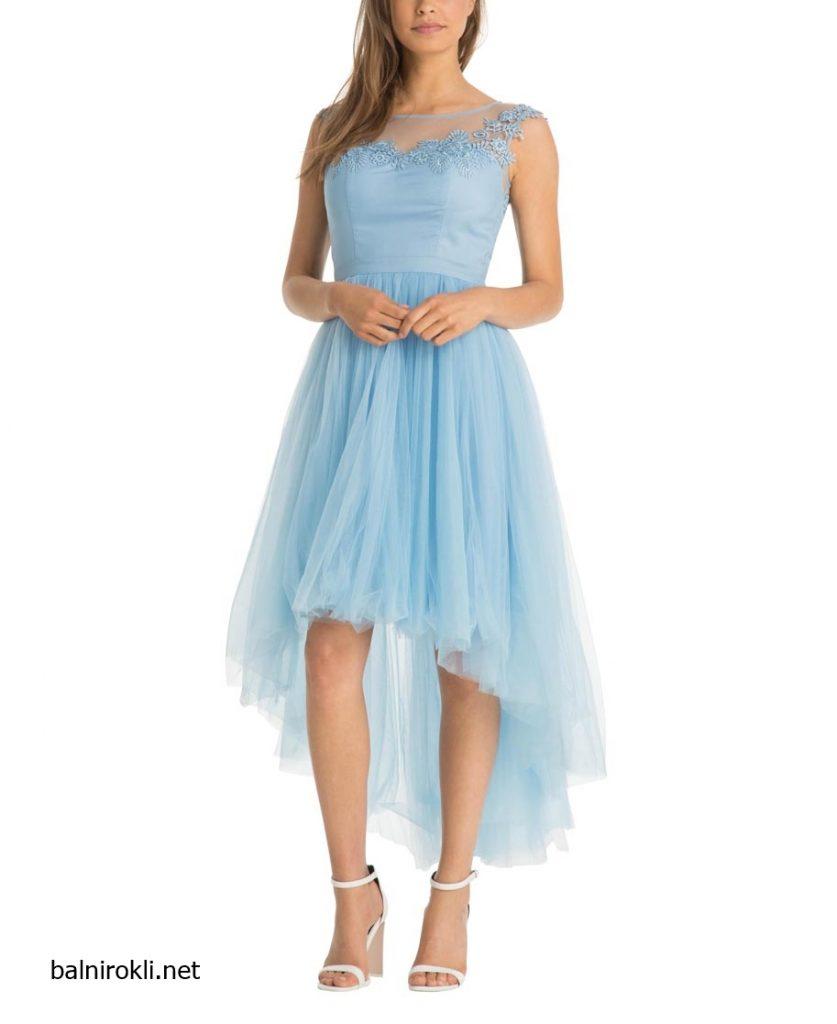 Асиметрична дълга светлосиня рокля тюл