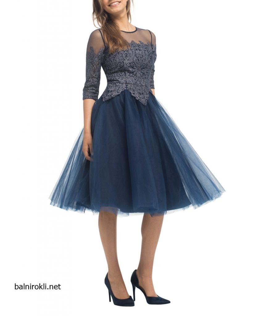 тъмносиня официална рокля средна дължина тюл дантелатъмносиня официална рокля средна дължина тюл дантела
