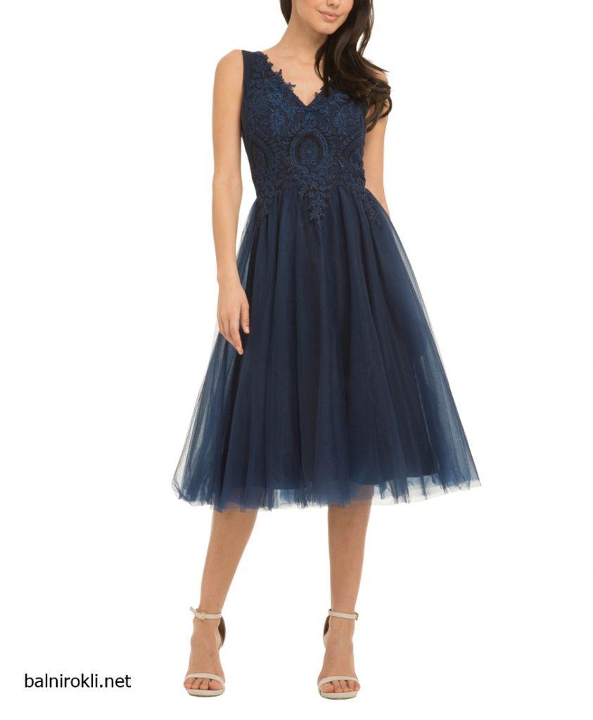 тъмносиня официална рокля тюл бродерии