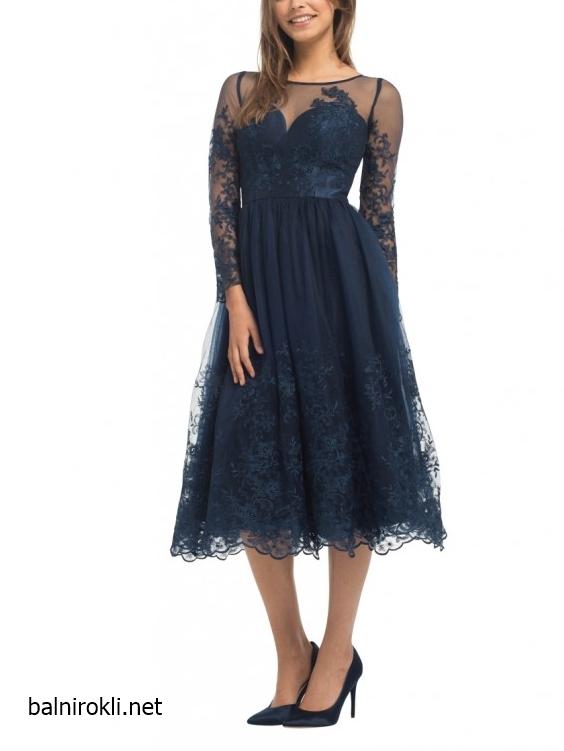 тъмносиня официална рокля средна дължина тюл бродерии