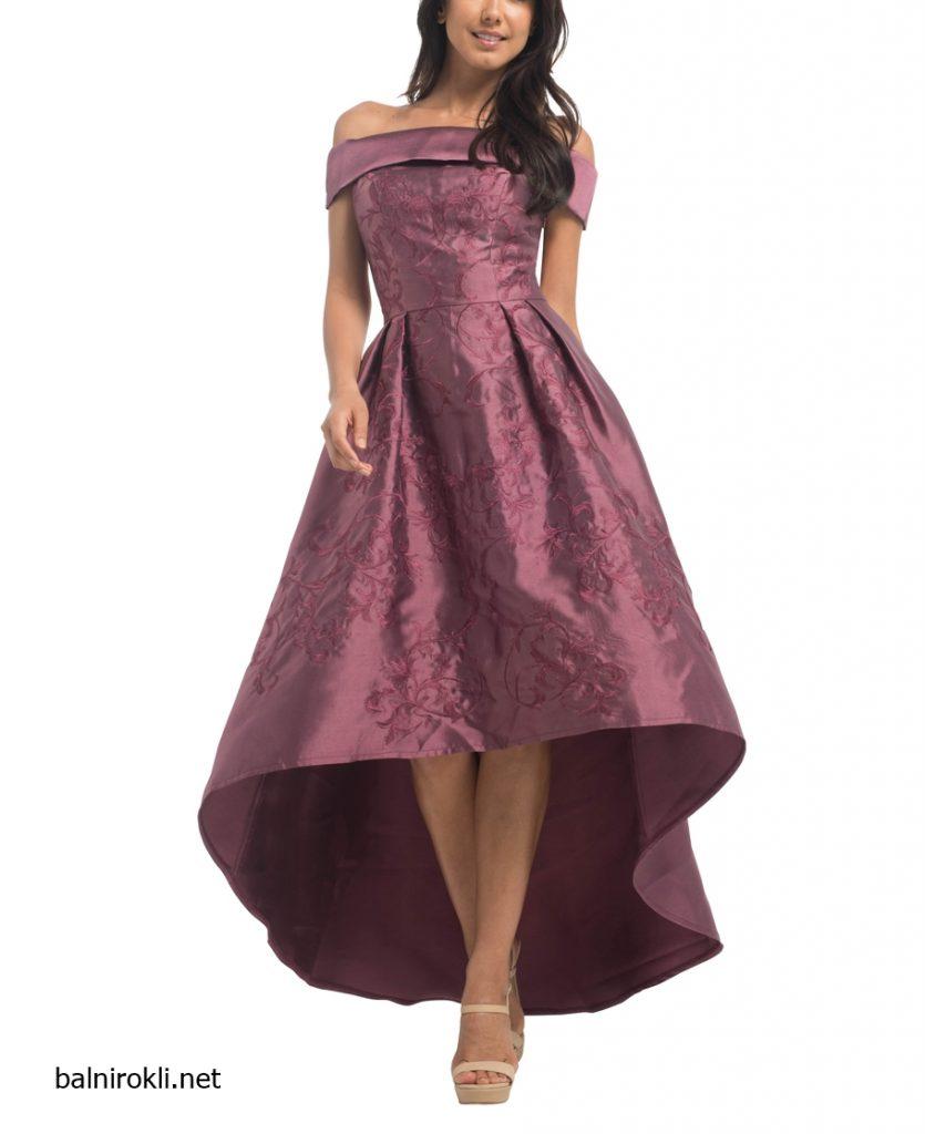 асиметрична лилава вечерна рокля
