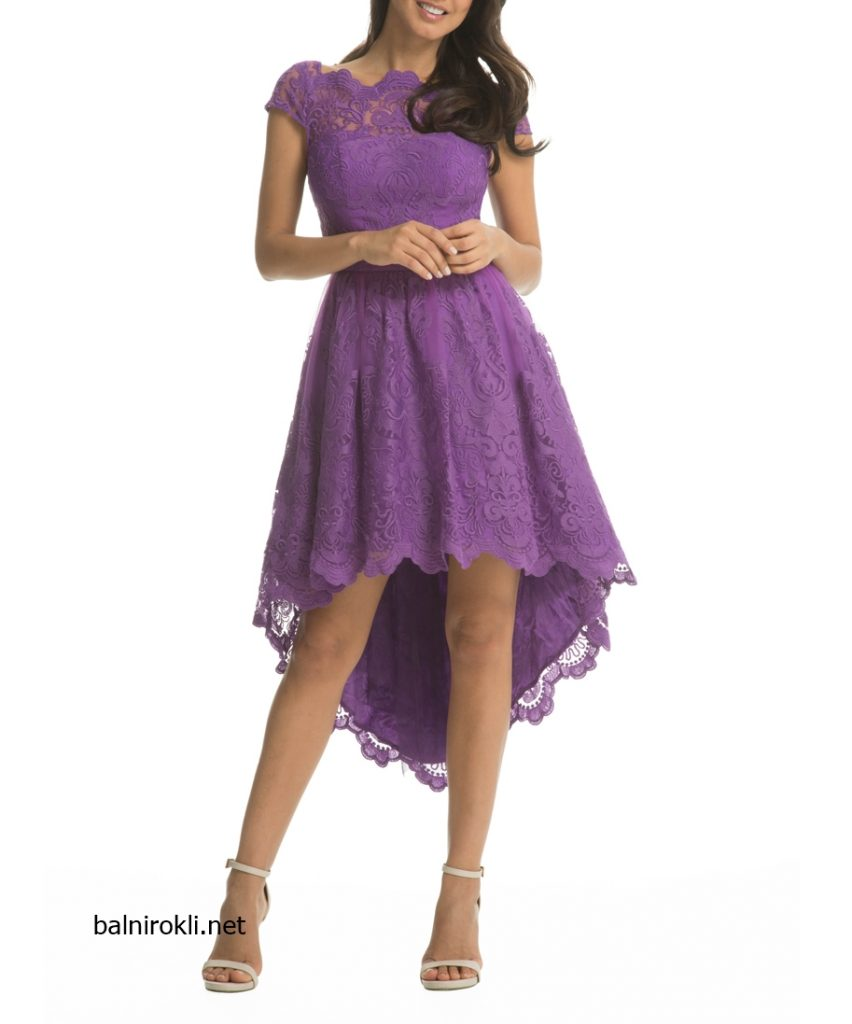 лилава асиметрична официална рокля