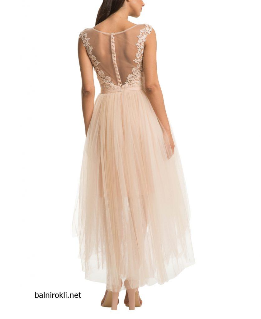 Асиметрична рокля шампанско тюл