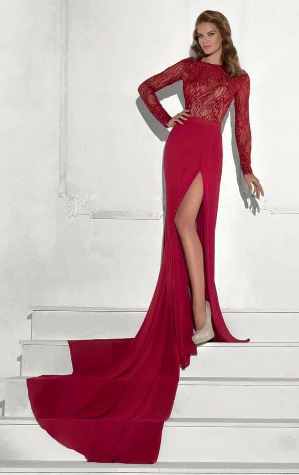 дълга официална червена рокля шлейф