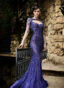 дълга синя официална рокля