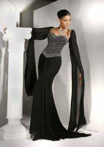 черна дълга бална рокля