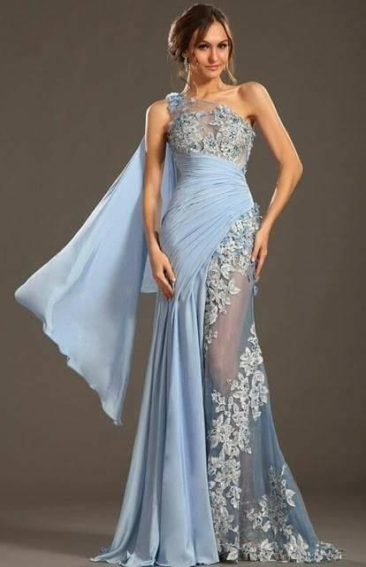 синя бална рокля дантела