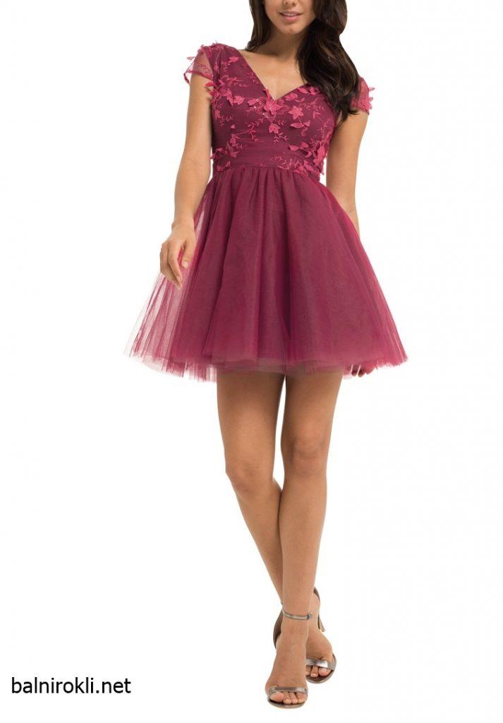 Абитуриентска къса рокля от тюл в малинов цвят