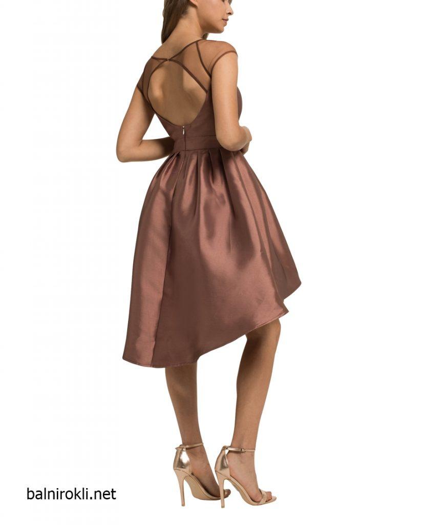 елегантна асиметрична рокля в цвят бронз