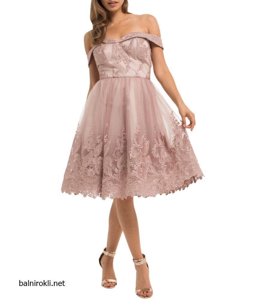 елегантна къса бална рокля цвят крем