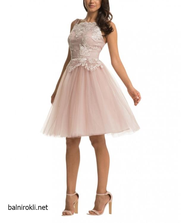 елегантна бална рокля тюл пепел от рози