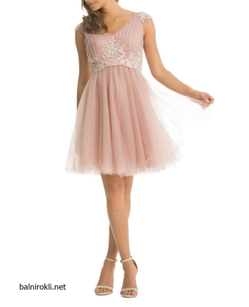 Вечерна къса рокля дантела и тюл