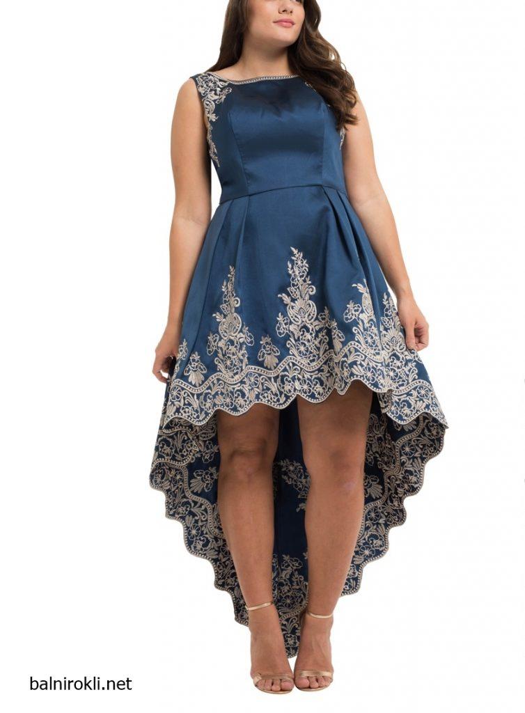 синя асиметрична рокля макси размери сатен бродерии