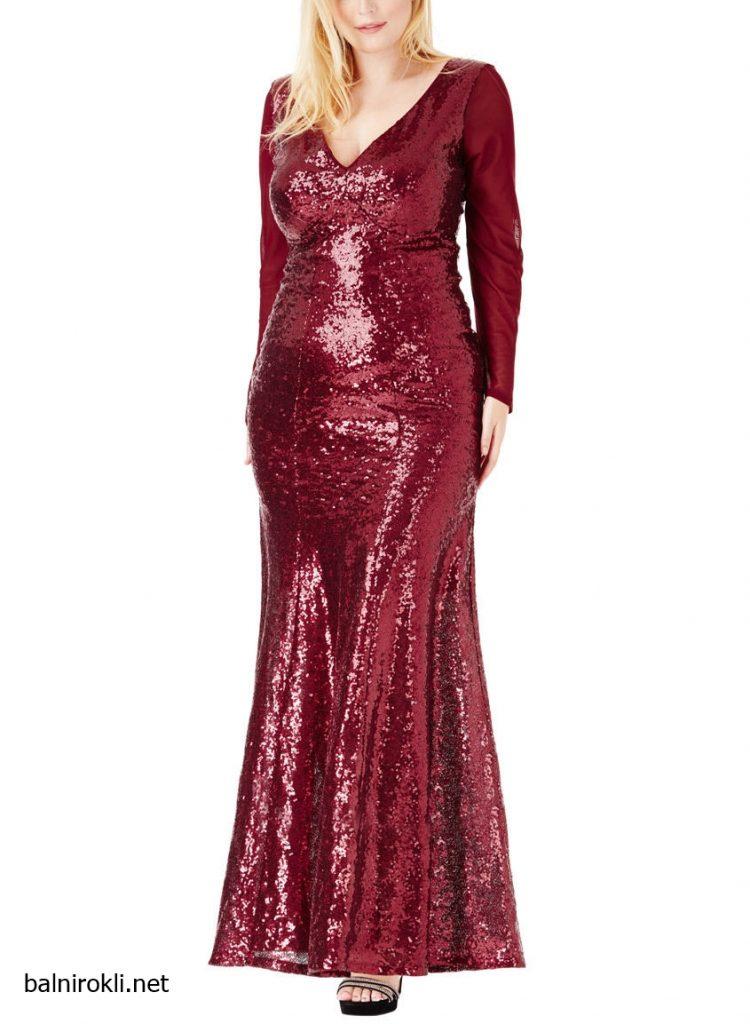 Блестяща дълга тъмночервена рокля макси дами