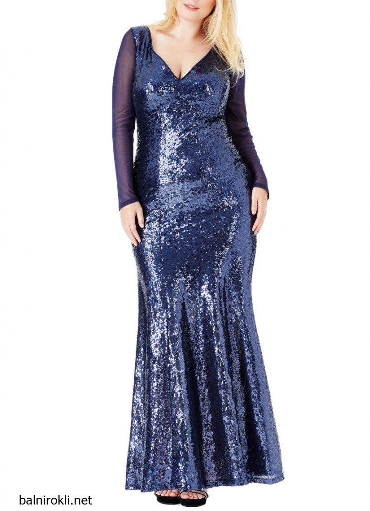 Блестяща дълга синя рокля макси дами
