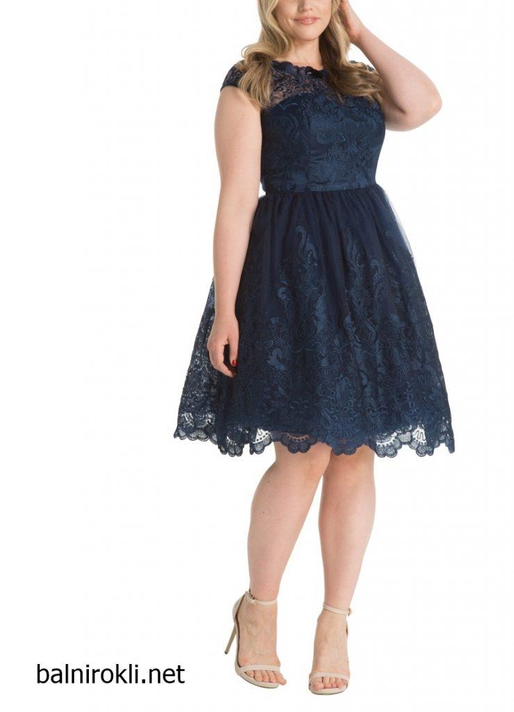 официална тъмносиня рокля тюл макси дами