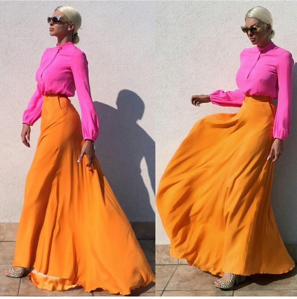ярка оранжева пола с цикламена блуза