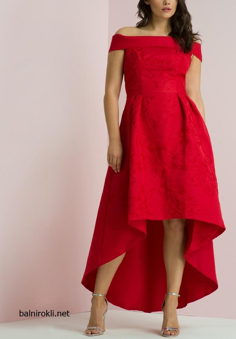 Асиметрична Червена официална рокля за Макси дами размери 3XL,4XL,5XL,6XL,7XL
