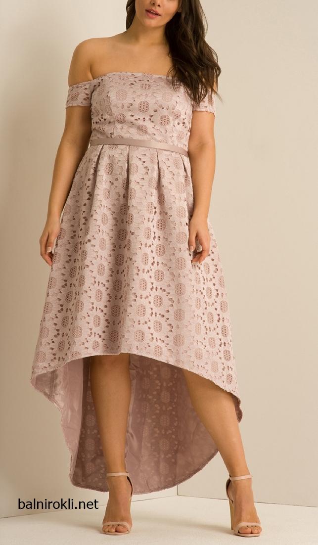 Асиметрична Розова официална рокля за Макси дами размери 3XL,4XL,5XL,6XL,7XL